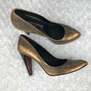 Rebecca Minkoff Steady Pumps Crackle Copper Size 8